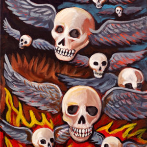 Flying Skulls, Acrylic on Canvas