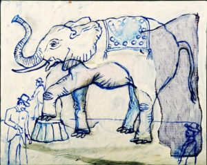 Elephant at Circus, Acrylic on Canvas, 16x20; Sold