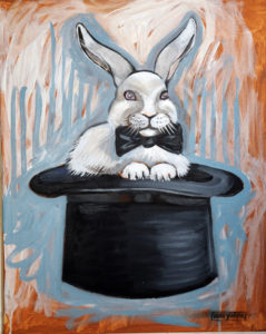 Rabbit in a Hat, Acrylic on Canvas