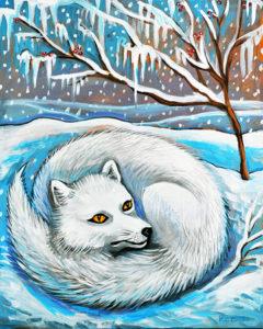Arctic Fox, Acrylic on Canvas