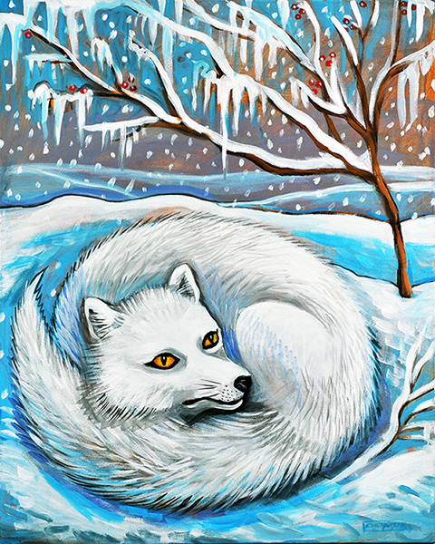 Arctic Fox, Acrylic on Canvas