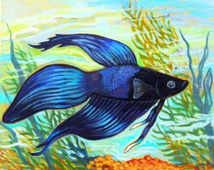 Blue Betta, Acrylic on Canvas