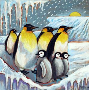 Antarctica Sunrise, Acrylic on Canvas