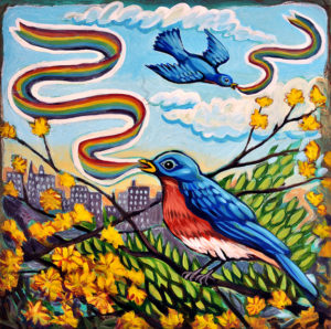 Bluebirds of Happiness, Acrylic on Canvas