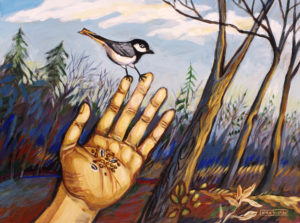 Chickadee, Acrylic on Canvas