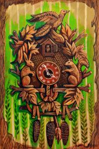 Black Forest Clock, Acrylic on Canvas