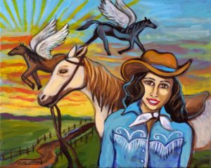 Cowgirl Sunset, Acrylic on Canvas