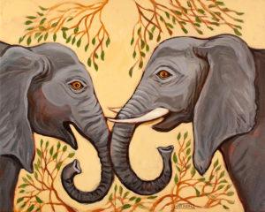 Elephants, Acrylic on Canvas