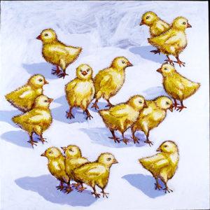 Fuzzy Chicks, Acrylic on Canvas