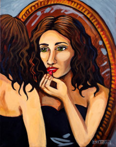Girl with Mirror, Acrylic on Canvas