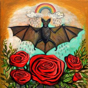 Happy Bat, Acrylic on Canvas, 20x20