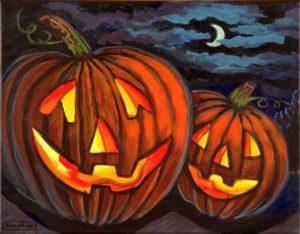 Jack-O-Lanterns, Acrylic on Canvas