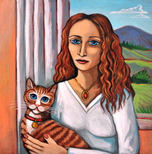 Lady with Cat, Acrylic on Canvas