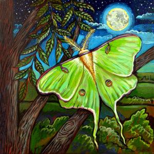Luna Moth, Acrylic on Canvas, sold
