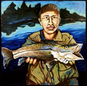 Man with Fish, Acrylic on Canvas
