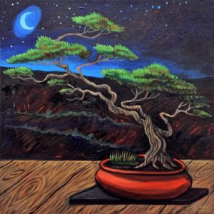 Midnight Bonsai, Acrylic on Canvas