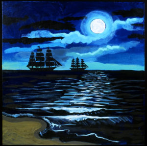 Night Ships, Acrylic on Canvas