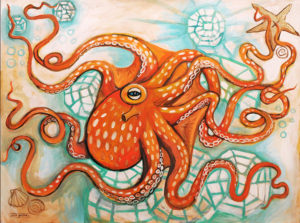 Orange Octopus, Acrylic on Canvas