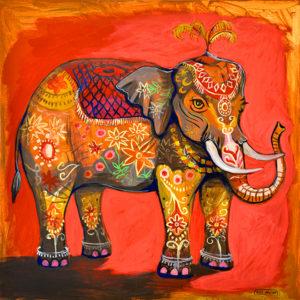Painted Elephant, Acrylic on Canvas