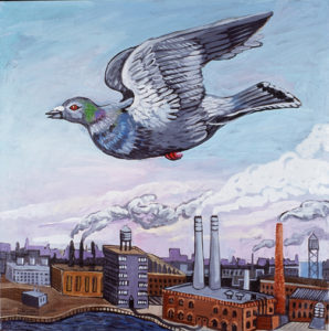 Pigeon Over Industrial Landscape, Acrylic on Canvas, sold