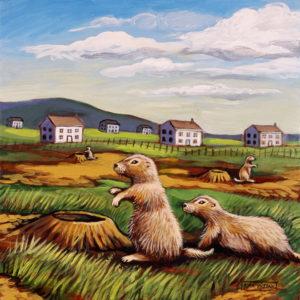 Prairie Dog Colony, Acrylic on Canvas