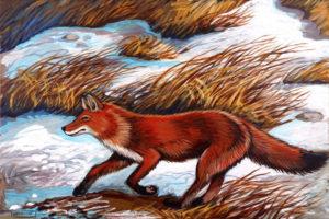 Running Fox, Acrylic on Canvas