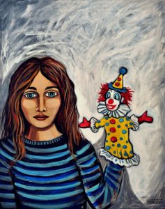 Serious Girl With a Clown Puppet, Acrylic on Canvas