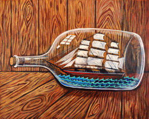 Ship in a Bottle, Acrylic on Canvas