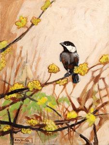 Small Chickadee, Acrylic on Canvas