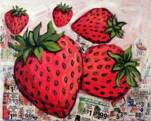 Strawberry Flavor, Acrylic on Canvas