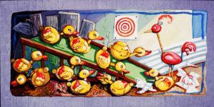Ten Ducks, Acrylic on Canvas