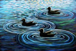 Three Ducks, Acrylic on Canvas