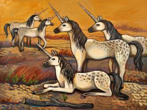 Waiting in the Land of Unicorns, Acrylic on Canvas