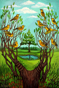 Yellow Warblers, Acrylic on Canvas, sold