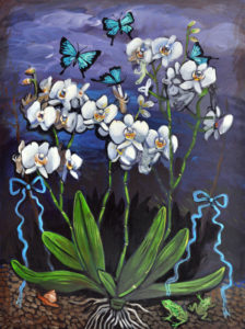 White Orchids, Acrylic on Canvas