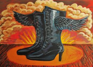 Winged Boots, Acrylic on Canvas