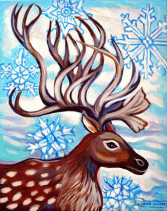 Winter Reindeer, Acrylic on Canvas