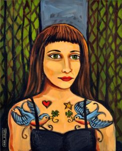 Woman With Bird Tattoos, Acrylic on Canvas