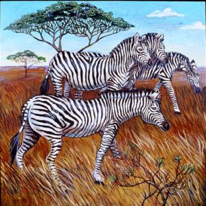 Zebras, Acrylic on Canvas